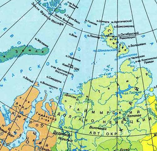 полуостров Таймыр на карте