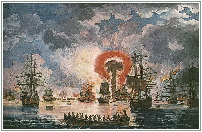Взрывы на Турецких кораблях, во время Чесменского боя