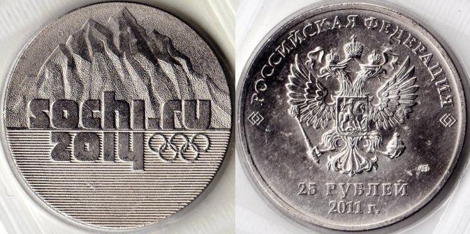 Юбилейные монеты 25 рублей Сочи-2014