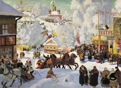 Картина русского художника Кустодиева - Масленица