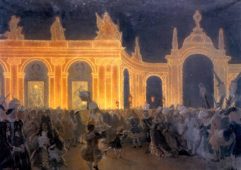 Маскарад при Людовике XIV картина бенуа