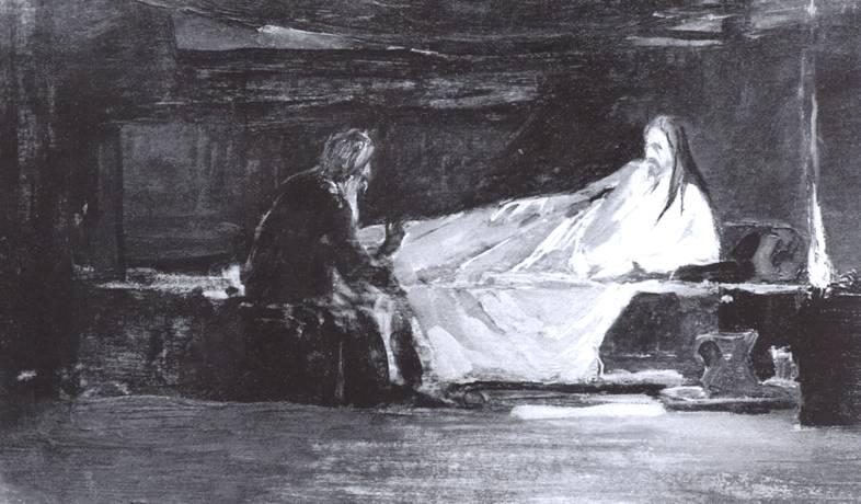 Христос беседует с Никодимом картина Коровина