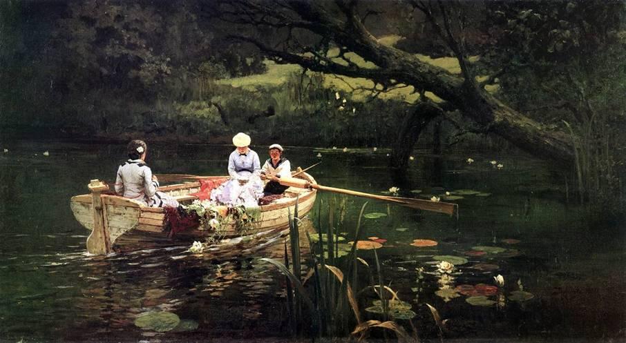 На лодке картина Поленова