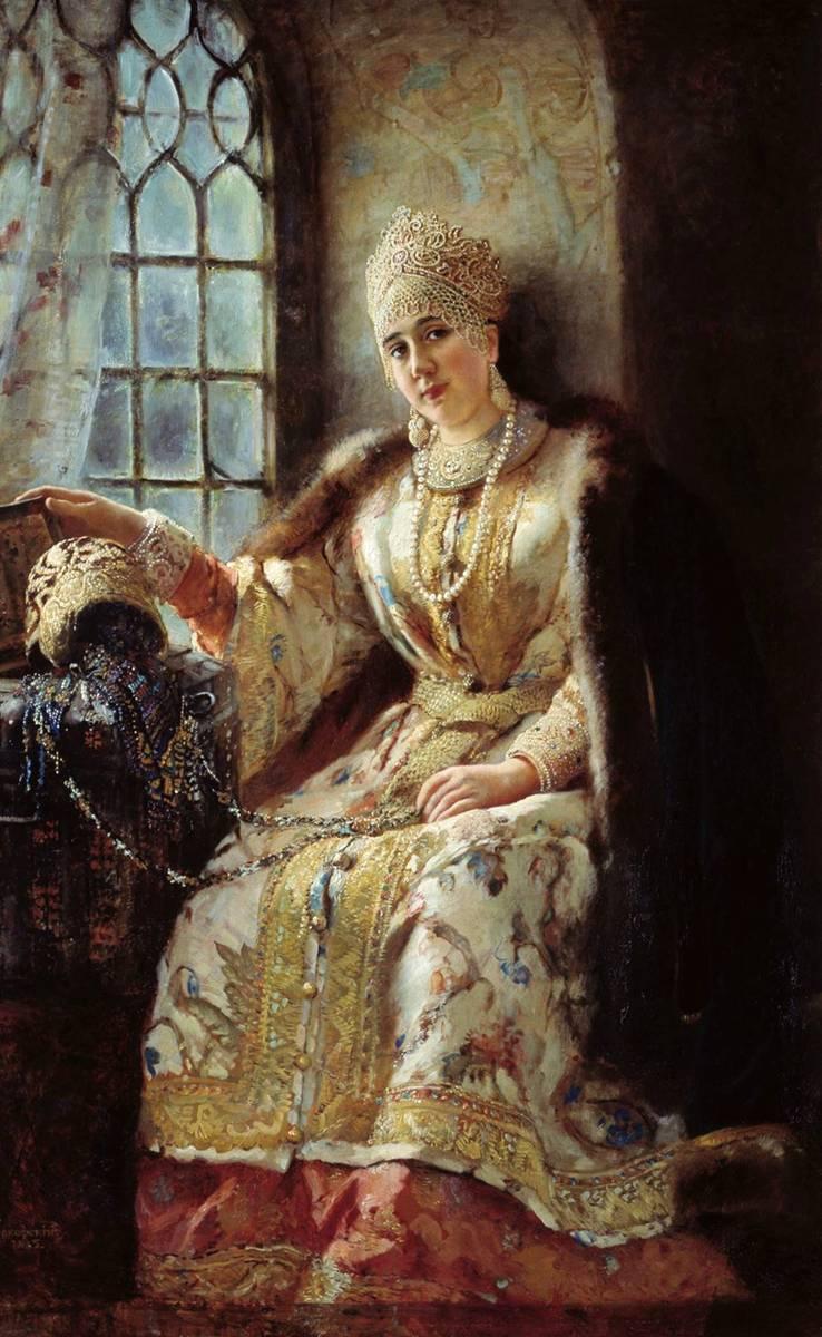 Боярыня у окна картина Маковского