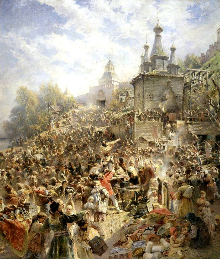 Воззвание Минина на площади Нижнего Новгорода