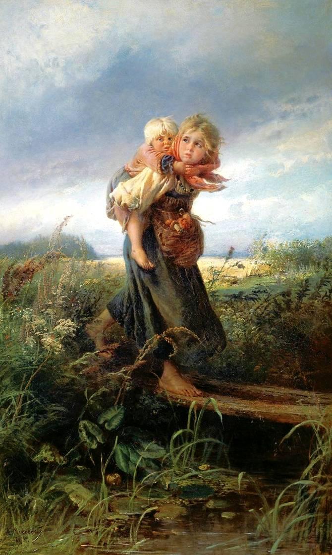 Дети Бегущие от грозы. маковский