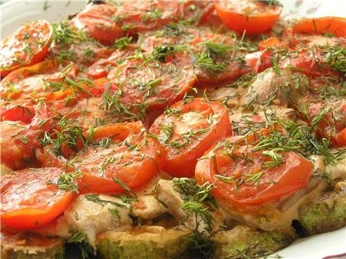 Кабачки с помидорами и грибами