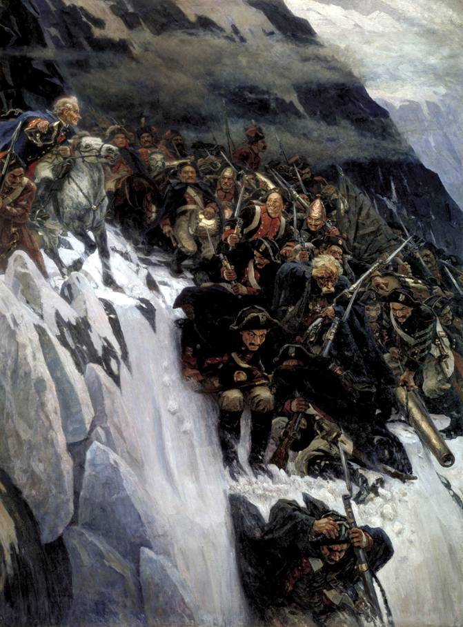 Картина Сурикова переход через альпы суворова